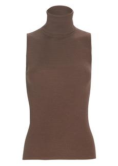 Tibi Sleeveless Wool Turtleneck Top