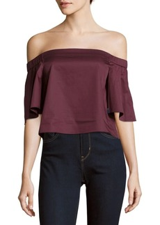 Tibi Solid Off-The-Shoulder Satin Top