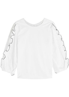 Tibi Spectator Cotton Blouse with Ruffles