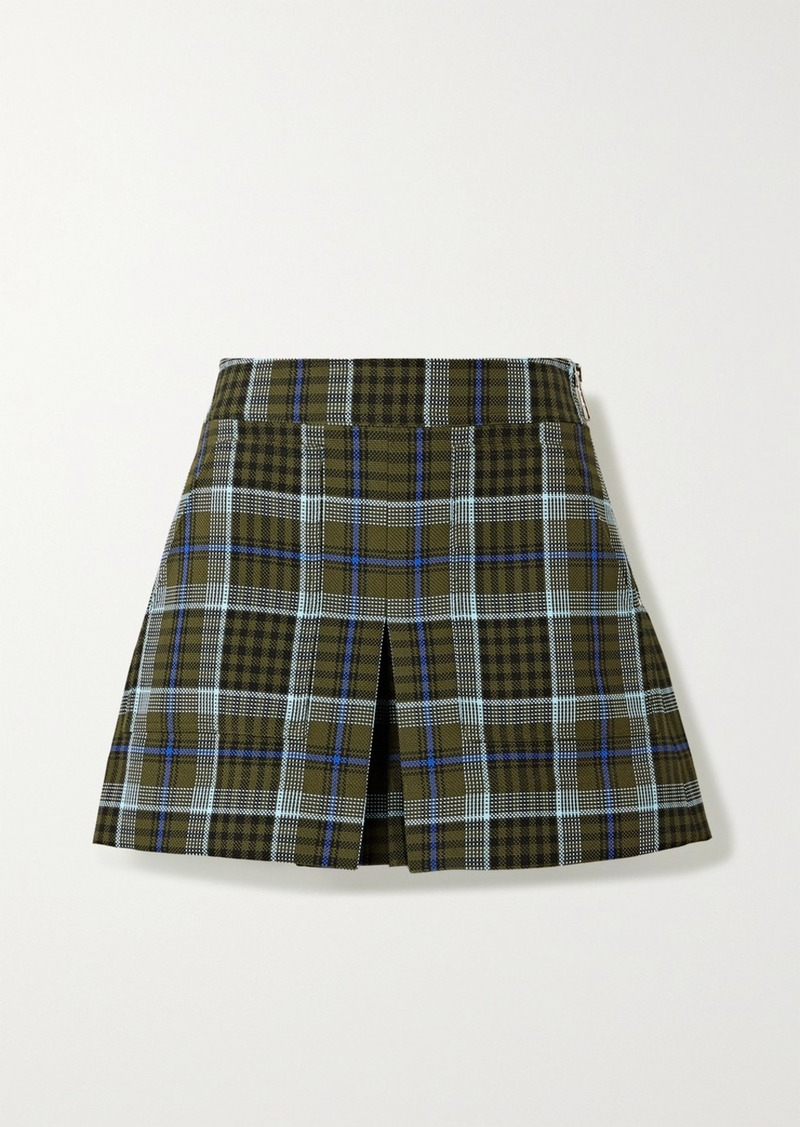 Tibi Spencer Pleated Checked Woven Shorts