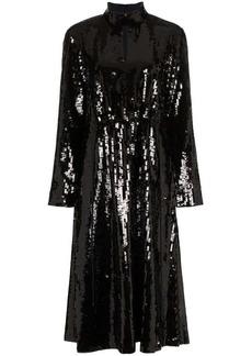 Tibi split neck sequin embellished dress