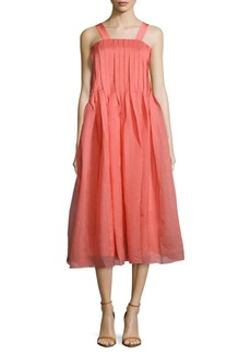 Tibi Squareneck Pleated Dress