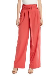 Tibi Stella Belted High-Rise Tropical Wool Pants