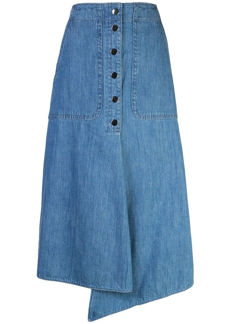 Tibi stone enzyme denim skirt