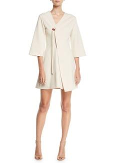 Tibi Stretch-Knit 3/4-Sleeve Mini Wrap Dress