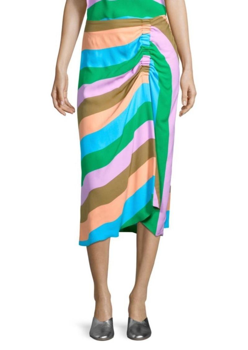 Tibi Stripe Shirred Skirt