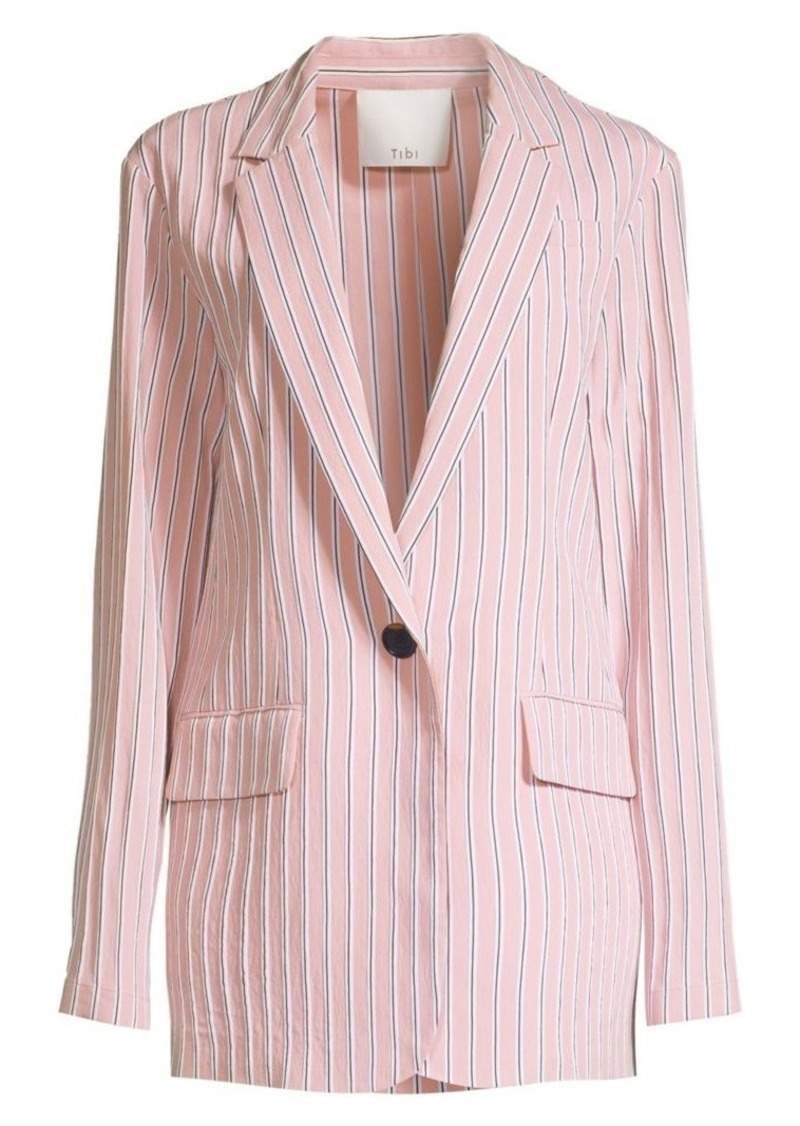 Tibi Stripe Twilll One-Button Blazer