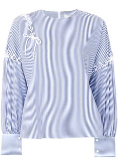 Tibi striped blouse with lace up detailing