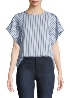 Tibi Striped Button-Back Buckle Top