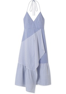 Tibi Striped Cotton-blend Poplin Halterneck Dress