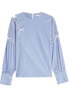 Tibi Striped Cotton Blouse with Lace-Up Detail