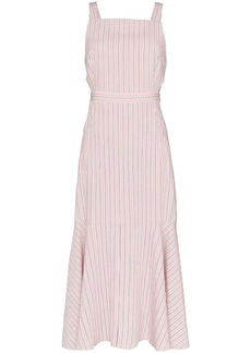 Tibi striped cut-out midi-dress