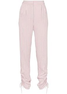 Tibi striped drawstring-gathered trousers