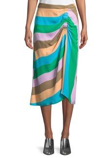 Tibi Striped Shirred Midi-Length Skirt