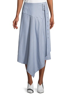 Tibi Striped Shirting Asymmetric Midi Skirt