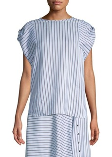 Tibi Striped Short-Sleeve Buckle Top