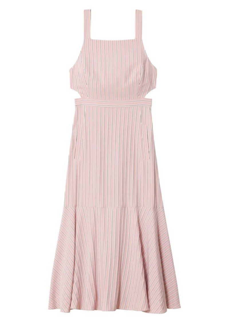 Tibi Striped Twill Cut-Out Midi Dress