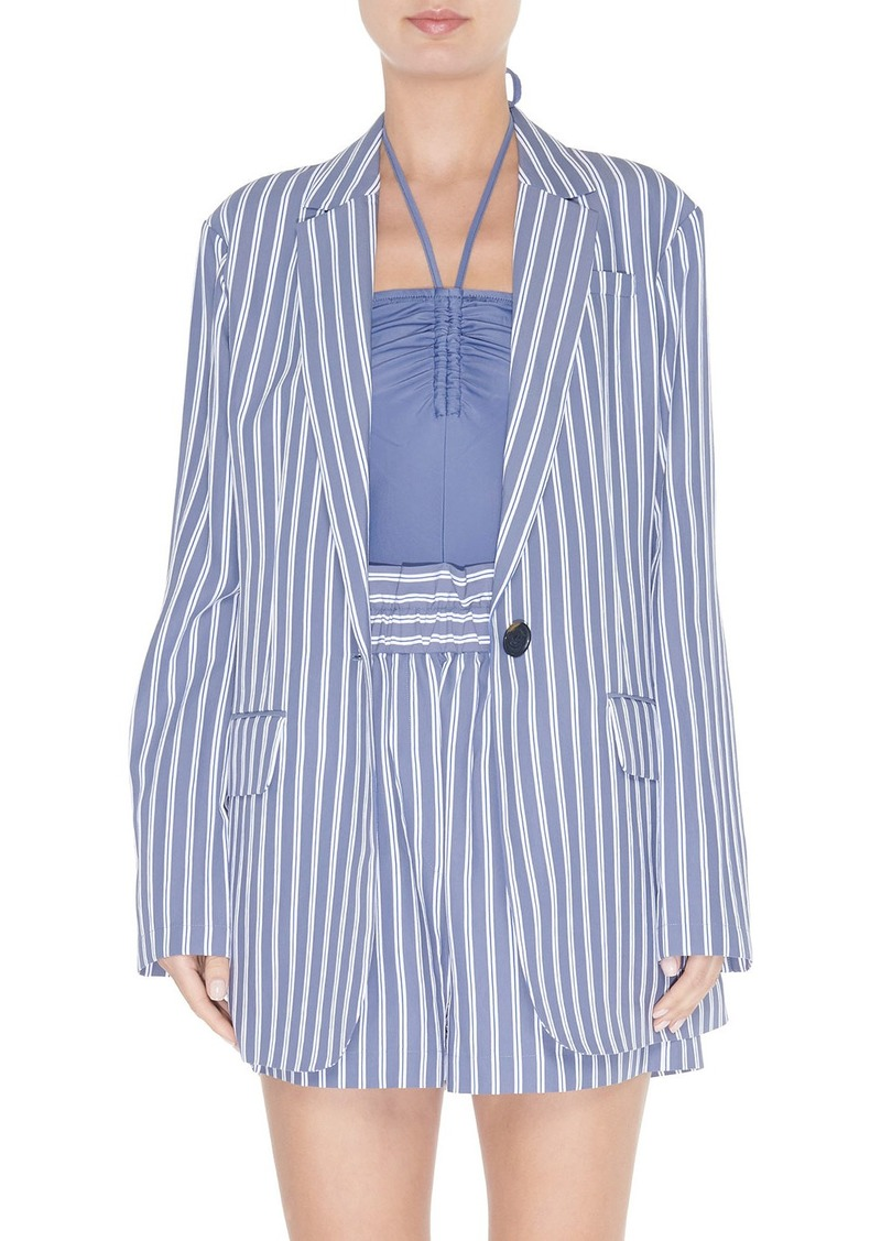 Tibi Striped Viscose Twill Oversized Blazer