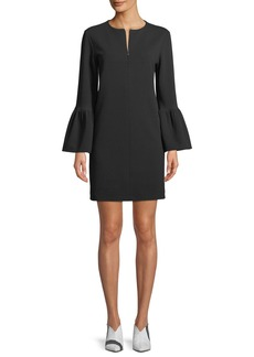 Tibi Structured Crepe Bell-Sleeve Mini Dress