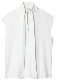 Tibi Structured Crepe Tieneck Cap-Sleeve Blouse