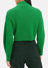 Tibi Structured Green Ribbed Pullover