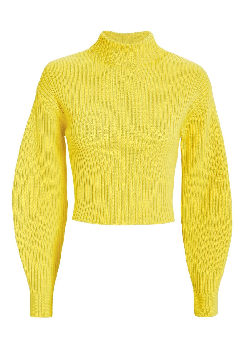 Tibi Structured Yellow Ribbed Pullover