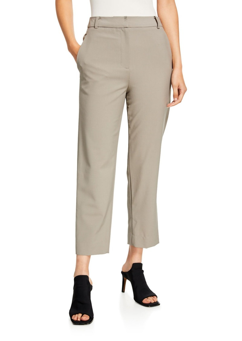 Tibi Taylor Tropical Wool Mid-Rise Ankle Pants