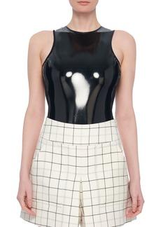 Tibi Tech Patent Sleeveless Bodysuit