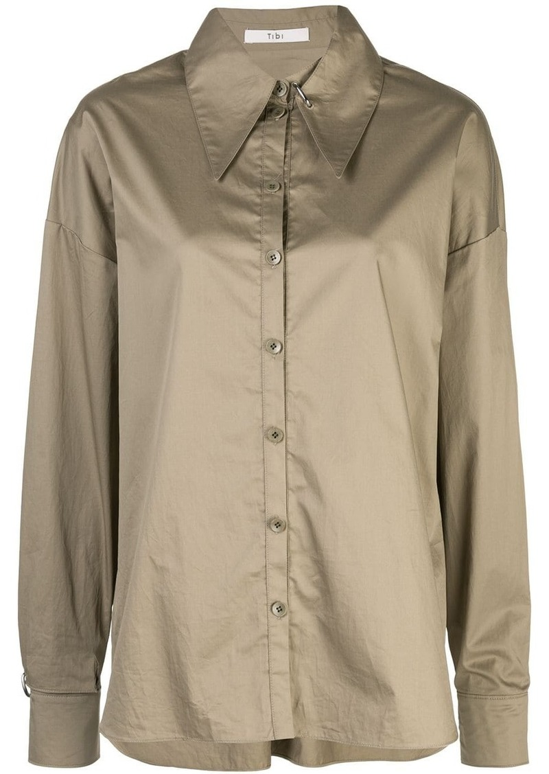Tibi tech poplin shirt with detached collar
