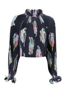 Tibi Camellia Printed Crop Top