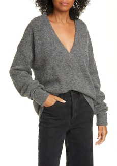 Tibi Airy Alpaca Blend Sweater with Arm Band Cuffs
