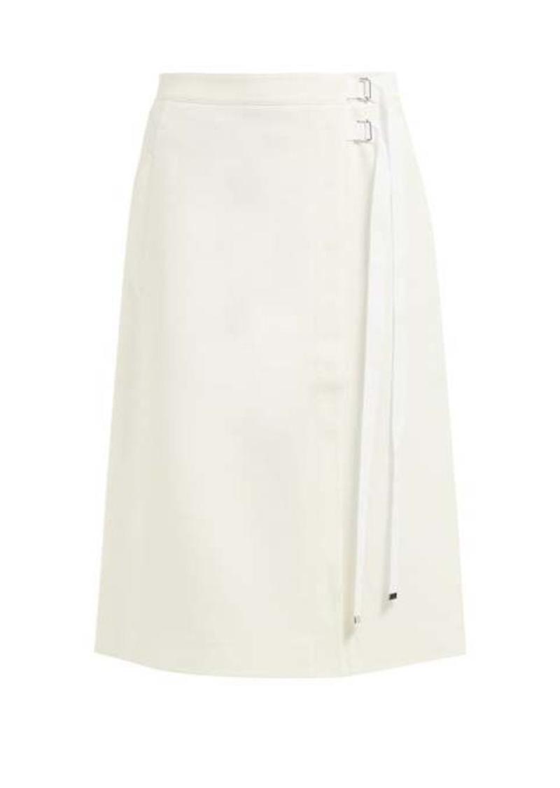 Tibi Anson A-line stretch-crepe wrap skirt