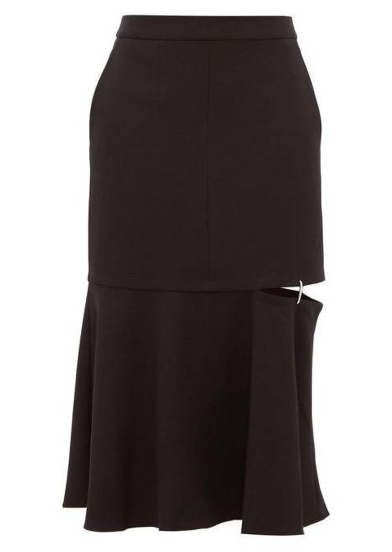 Tibi Anson cut-out hem stretch-jersey midi skirt