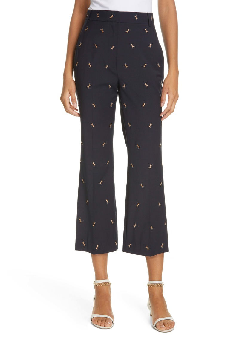 Tibi Ant Embroidered Crop Flare Pants