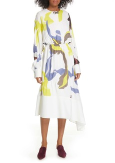 Tibi Ant Farm Print Long Sleeve Midi Dress