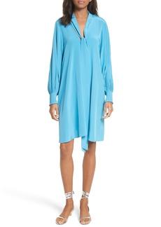 Tibi Arielle Tie Front Silk Shift Dress