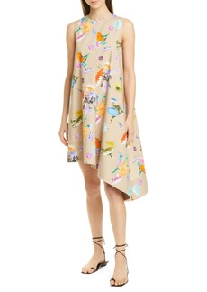 Tibi Arya Asymmetrical Floral Print Cotton Dress