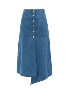 Tibi Asymmetric-hem buttoned denim skirt