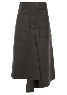 Tibi Asymmetric leather midi skirt