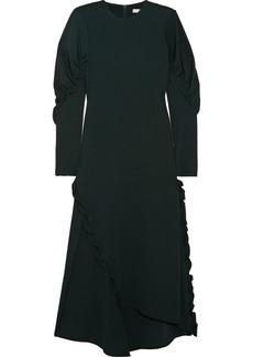 Tibi Asymmetric ruffled crepe midi dress