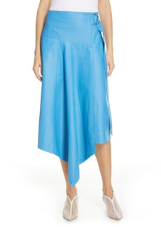 Tibi Asymmetrical Drape Tissue Leather Skirt