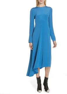 Tibi Asymmetrical Tie Back Silk Dress