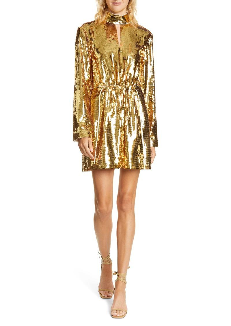 Tibi Avril Contrast Back Sequin Long Sleeve Minidress