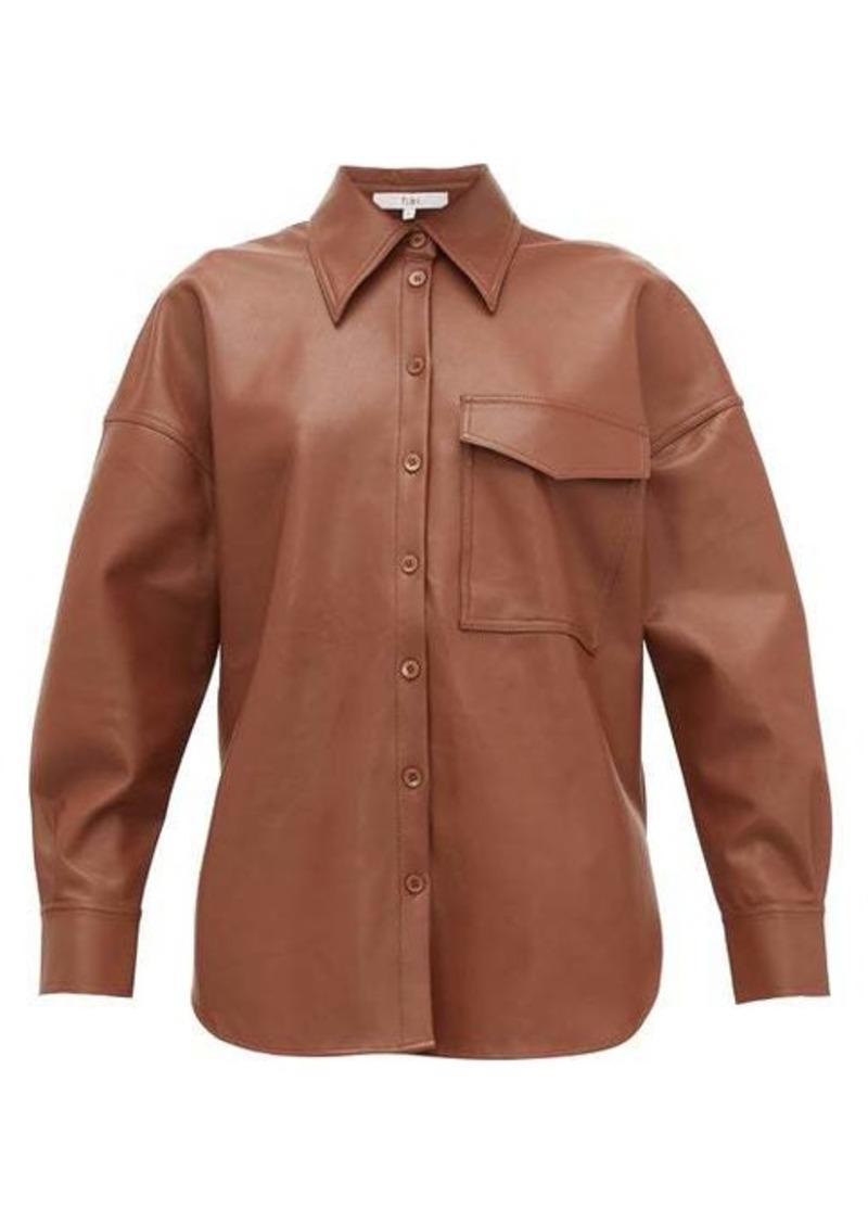 Tibi Back-tab faux-leather shirt