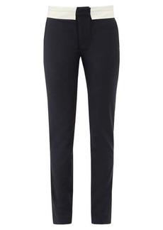 Tibi Beatle contrast-waist wool-blend trousers