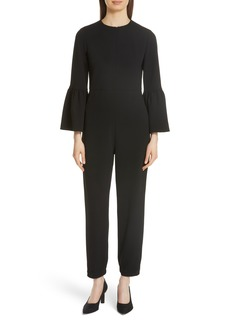 Tibi Bell Cuff Structured Crepe Jumpsuit