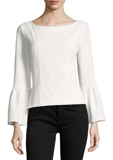 Tibi Bell-Sleeve Corset Stretch-Crepe Top