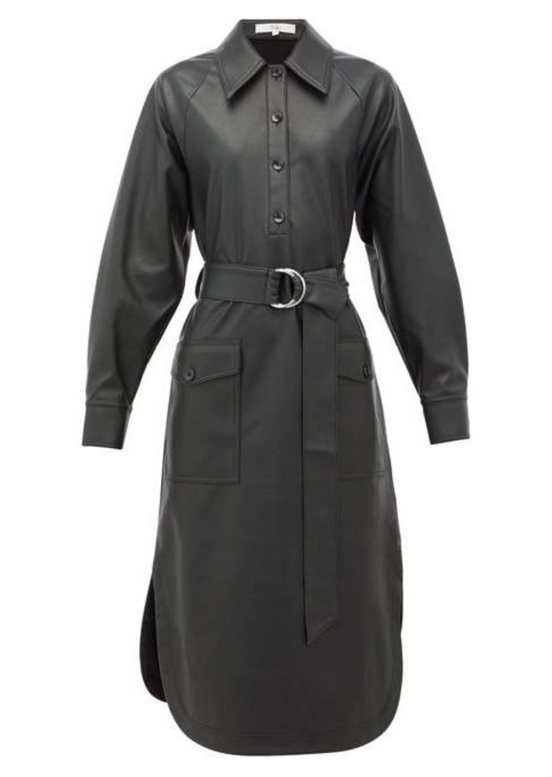 Tibi Belted faux-leather shirtdress