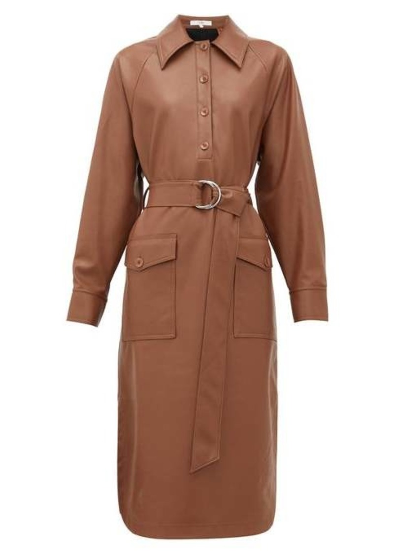 Tibi Belted faux leather shirtdress