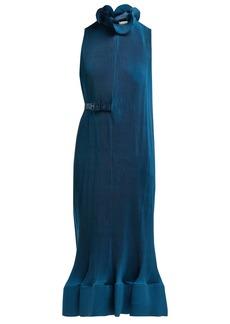 Tibi Belted plissé midi dress